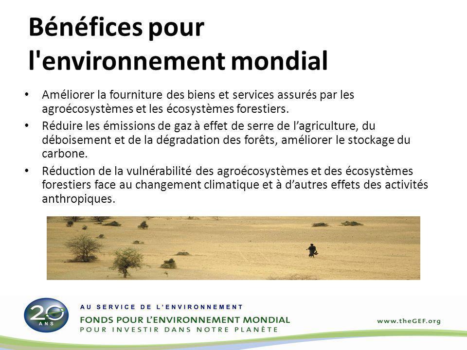 Bénéfices socio-économiques nationaux Viabilité à long terme des modes de subsistance des populations tributaires de lutilisation et de la gestion des ressources naturelles (sols, eau, biodiversité).
