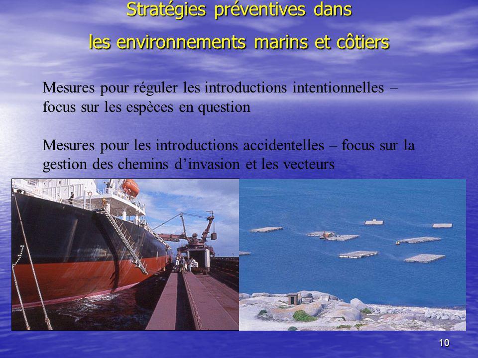 10 Stratégies préventives dans les environnements marins et côtiers Mesures pour réguler les introductions intentionnelles – focus sur les espèces en
