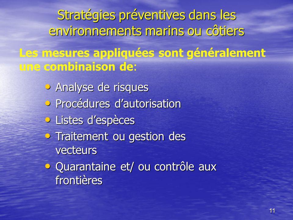 11 Stratégies préventives dans les environnements marins ou côtiers Analyse de risques Analyse de risques Procédures dautorisation Procédures dautoris