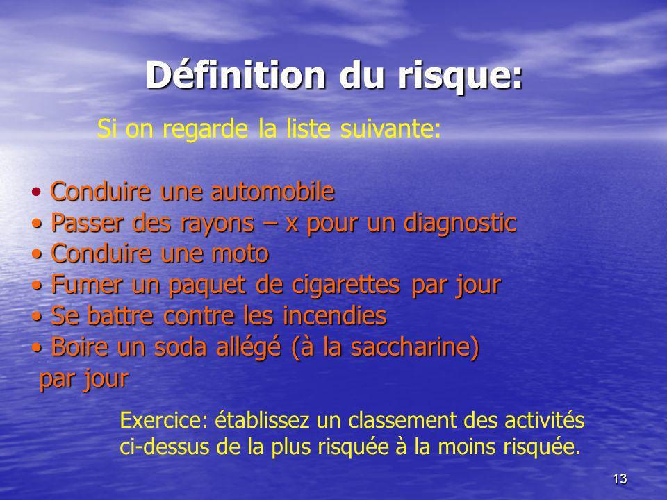 13 Définition du risque: Si on regarde la liste suivante: Conduire une automobile Passer des rayons – x pour un diagnostic Passer des rayons – x pour