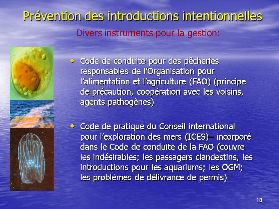 18 Prévention des introductions intentionnelles Divers instruments pour la gestion: Code de conduite pour des pêcheries responsables de lOrganisation