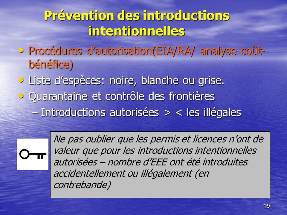 19 Prévention des introductions intentionnelles Procédures dautorisation(EIA/RA/ analyse coût- bénéfice) Procédures dautorisation(EIA/RA/ analyse coût