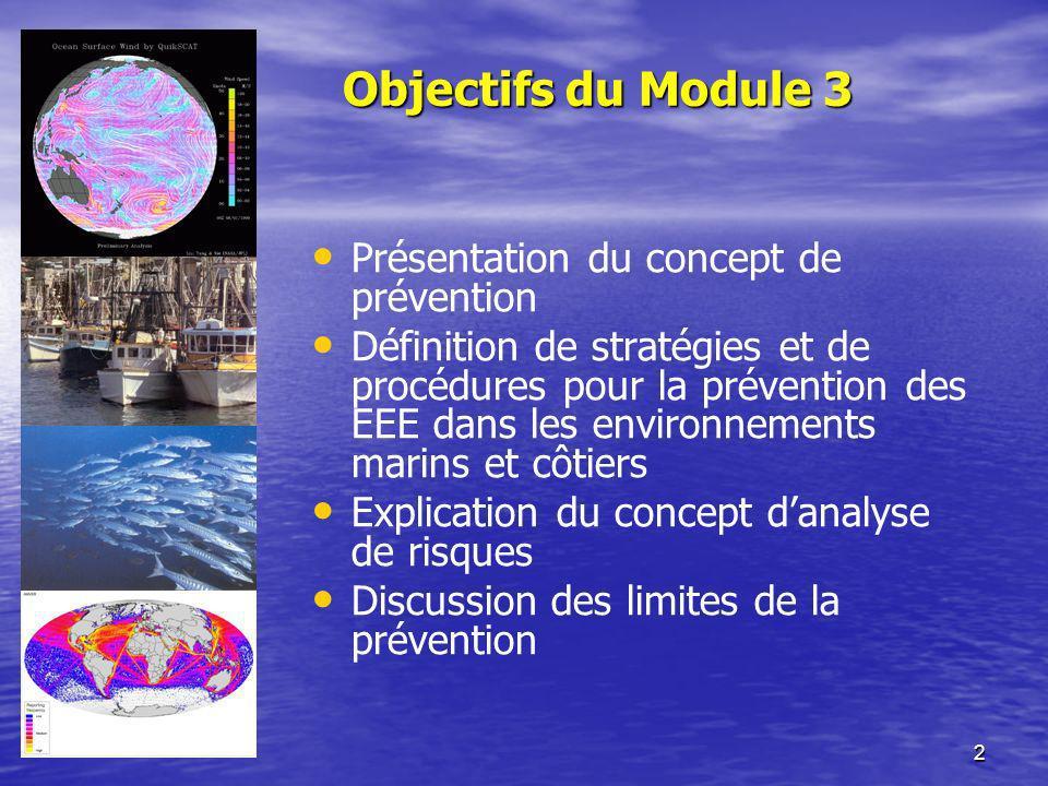 2 Objectifs du Module 3 Présentation du concept de prévention Définition de stratégies et de procédures pour la prévention des EEE dans les environnem
