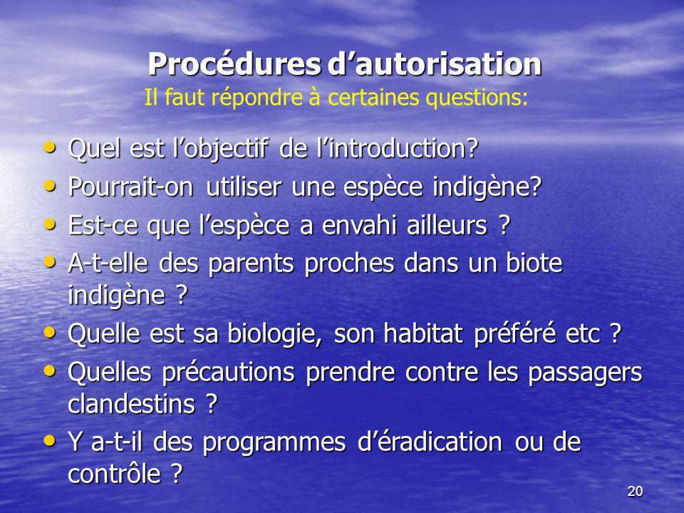 20 Procédures dautorisation Quel est lobjectif de lintroduction? Quel est lobjectif de lintroduction? Pourrait-on utiliser une espèce indigène? Pourra
