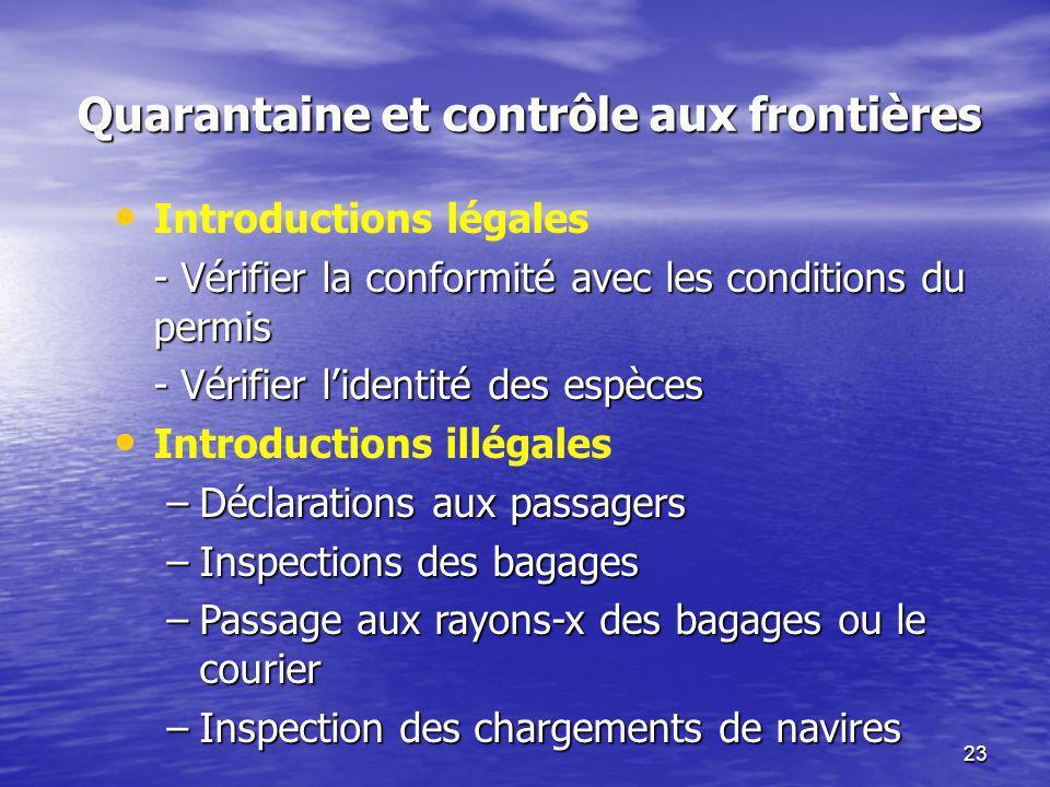 23 Quarantaine et contrôle aux frontières Introductions légales - Vérifier la conformité avec les conditions du permis - Vérifier lidentité des espèce