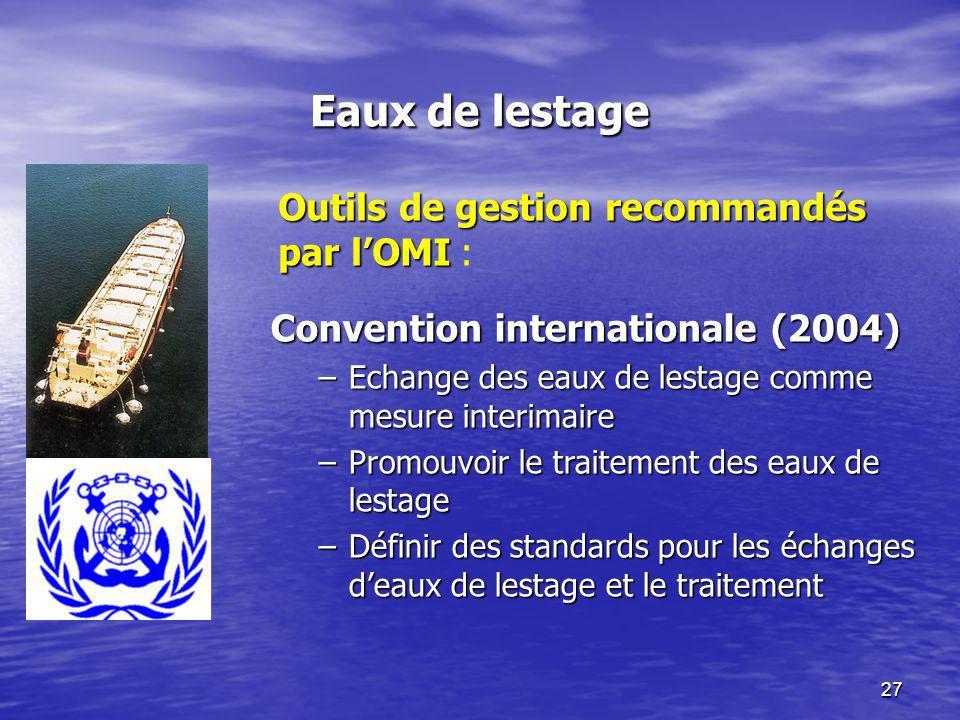 27 Eaux de lestage Convention internationale (2004) –Echange des eaux de lestage comme mesure interimaire –Promouvoir le traitement des eaux de lestag