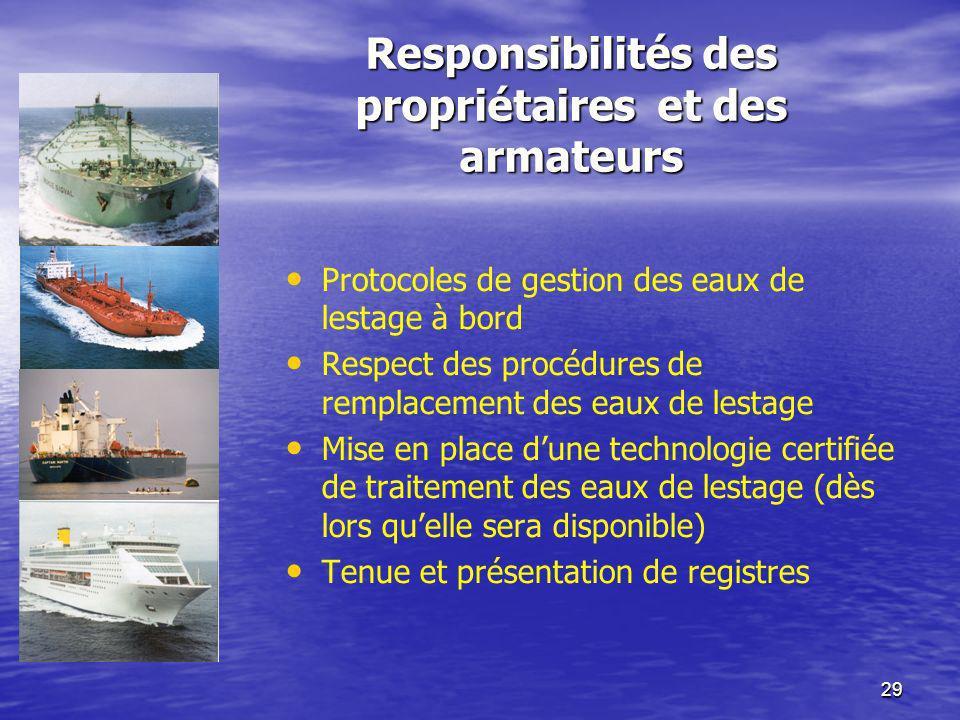 29 Responsibilités des propriétaires et des armateurs Protocoles de gestion des eaux de lestage à bord Respect des procédures de remplacement des eaux