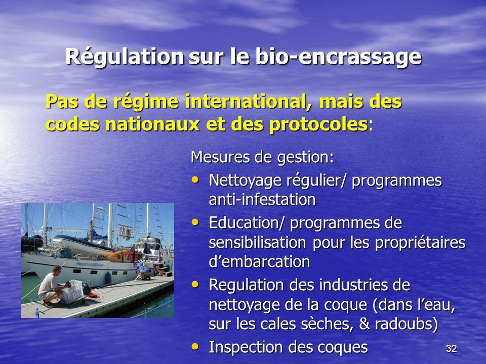 32 Régulation sur le bio-encrassage Mesures de gestion: Nettoyage régulier/ programmes anti-infestation Nettoyage régulier/ programmes anti-infestatio