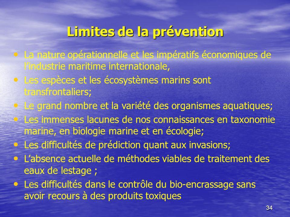 34 Limites de la prévention La nature opérationnelle et les impératifs économiques de lindustrie maritime internationale, Les espèces et les écosystèm
