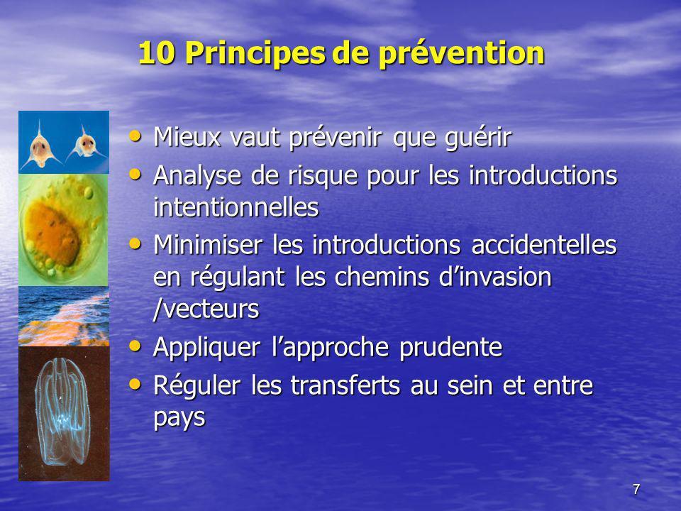 7 10 Principes de prévention Mieux vaut prévenir que guérir Mieux vaut prévenir que guérir Analyse de risque pour les introductions intentionnelles An