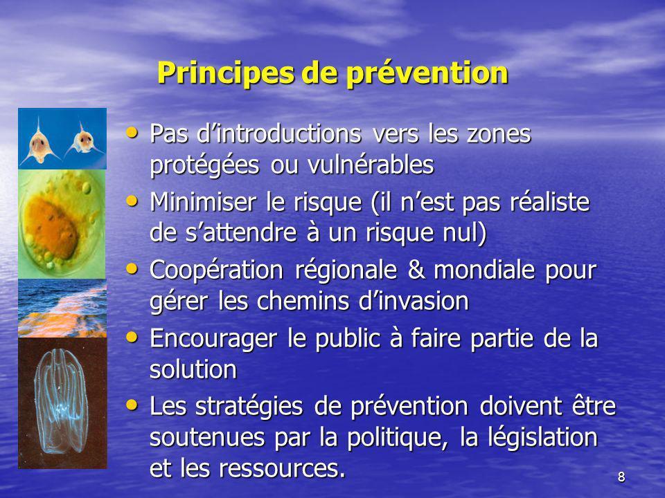 8 Principes de prévention Pas dintroductions vers les zones protégées ou vulnérables Pas dintroductions vers les zones protégées ou vulnérables Minimi