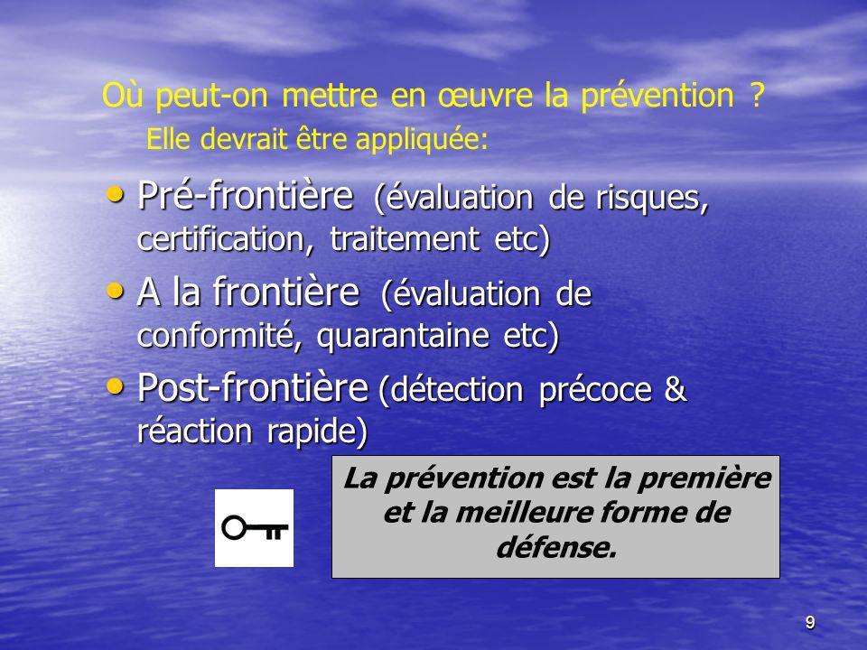 9 Où peut-on mettre en œuvre la prévention ? Elle devrait être appliquée: Pré-frontière (évaluation de risques, certification, traitement etc) Pré-fro