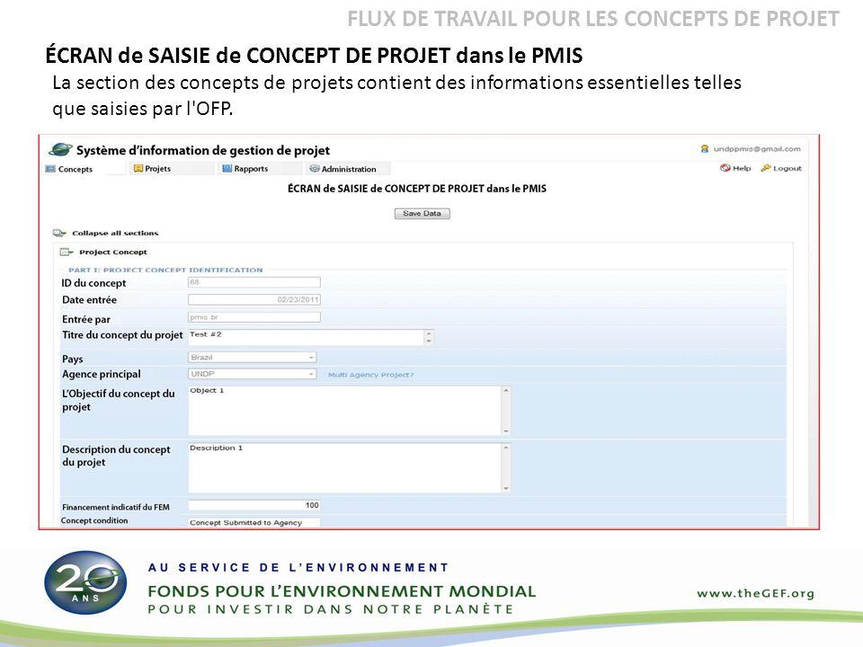 La section des concepts de projets contient des informations essentielles telles que saisies par l OFP.