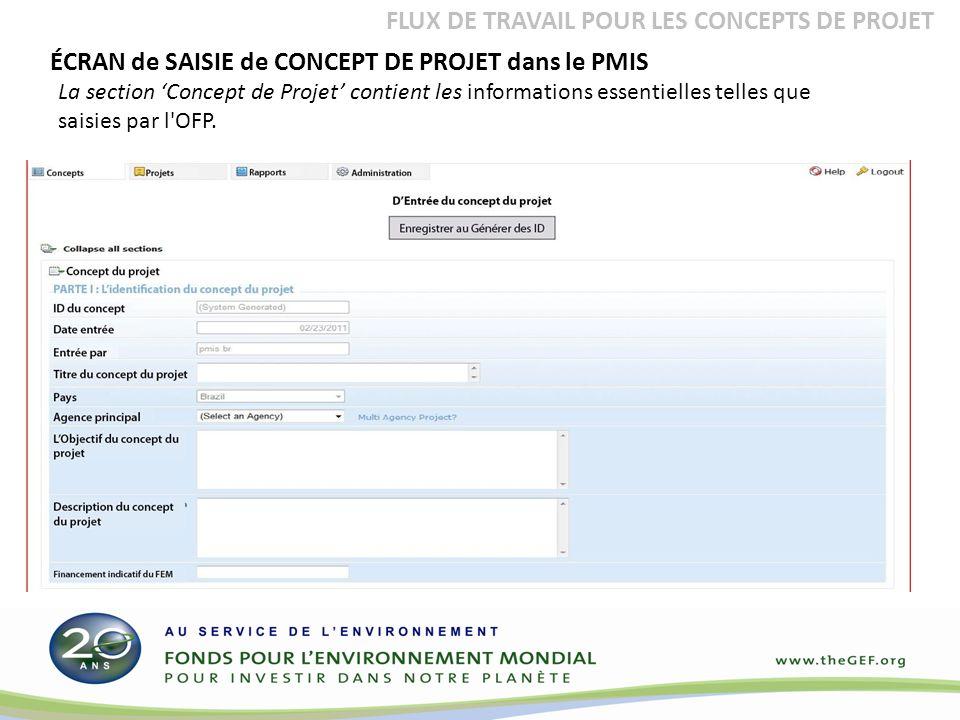 ÉCRAN de SAISIE de CONCEPT DE PROJET dans le PMIS La section Concept de Projet contient les informations essentielles telles que saisies par l OFP.