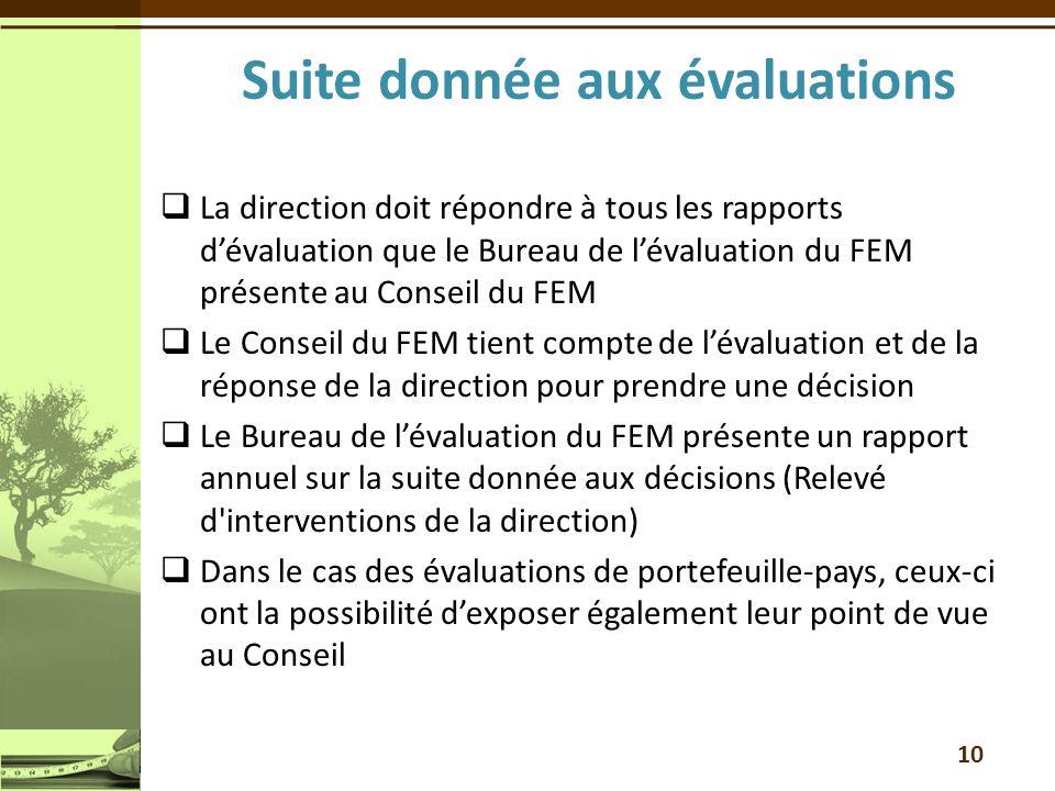 10 La direction doit répondre à tous les rapports dévaluation que le Bureau de lévaluation du FEM présente au Conseil du FEM Le Conseil du FEM tient c