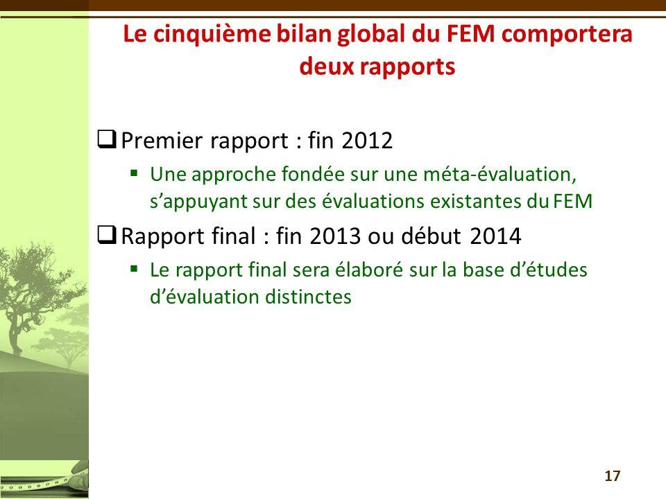 Premier rapport : fin 2012 Une approche fondée sur une méta-évaluation, sappuyant sur des évaluations existantes du FEM Rapport final : fin 2013 ou dé
