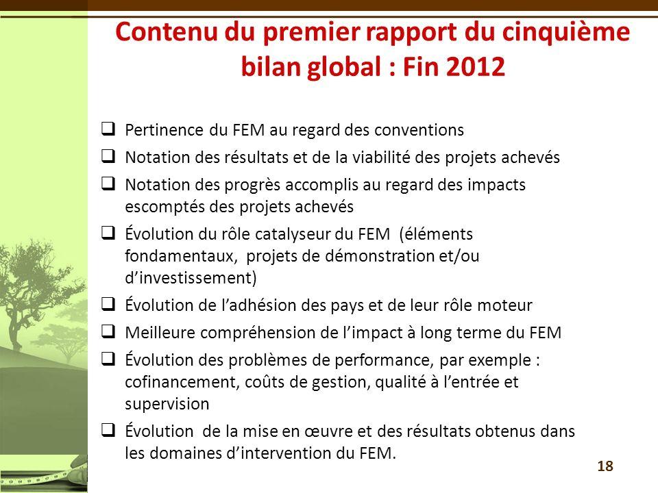 Pertinence du FEM au regard des conventions Notation des résultats et de la viabilité des projets achevés Notation des progrès accomplis au regard des