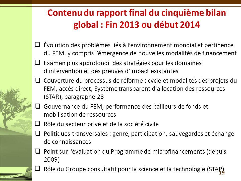 Évolution des problèmes liés à lenvironnement mondial et pertinence du FEM, y compris lémergence de nouvelles modalités de financement Examen plus app