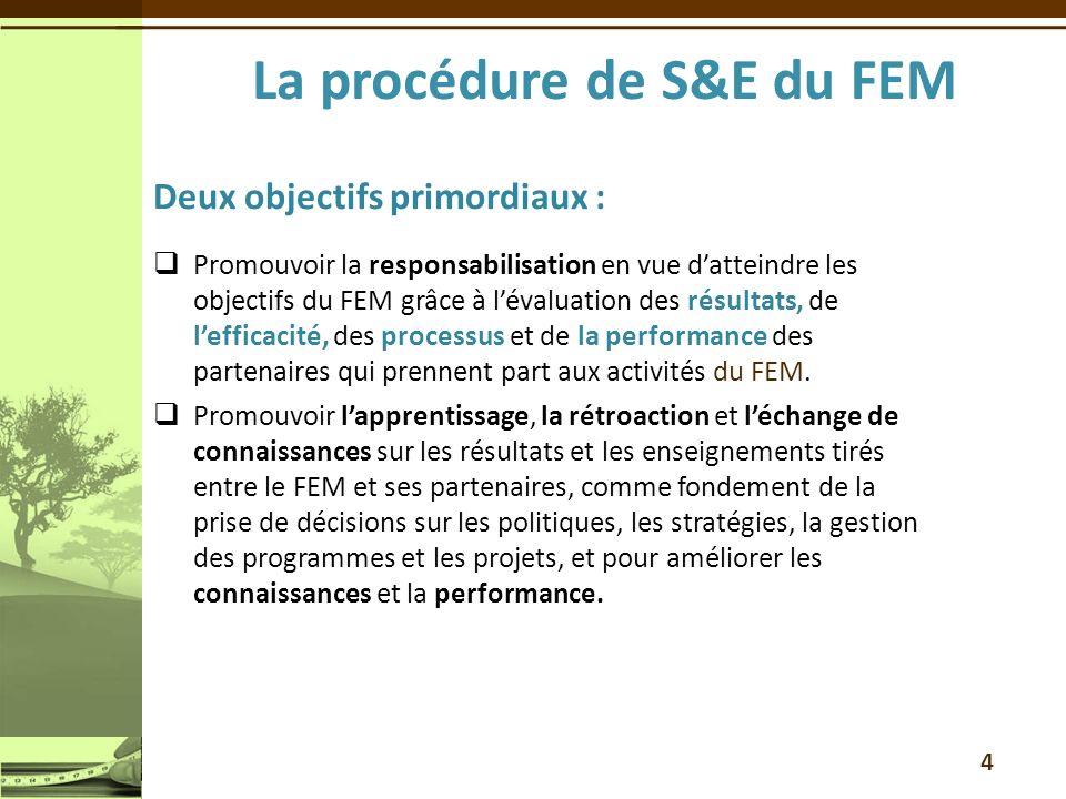 Deux objectifs primordiaux : Promouvoir la responsabilisation en vue datteindre les objectifs du FEM grâce à lévaluation des résultats, de lefficacité