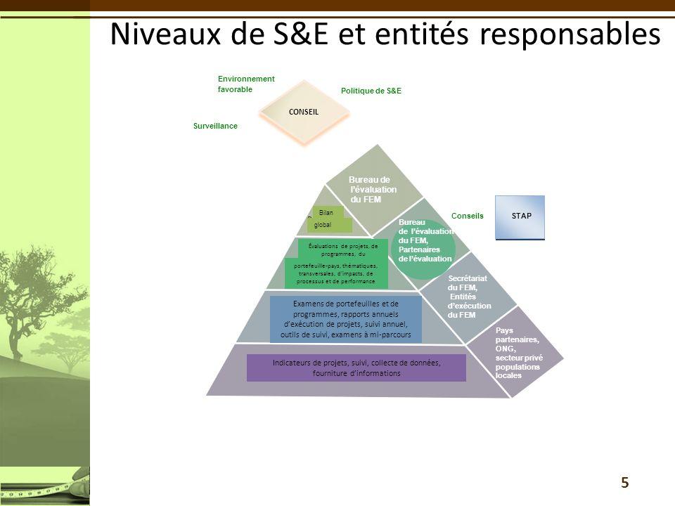 5 Niveaux de S&E et entités responsables Conseils Surveillance Politique de S&E Bureau de lévaluation du FEM, Partenaires de lévaluation Environnement