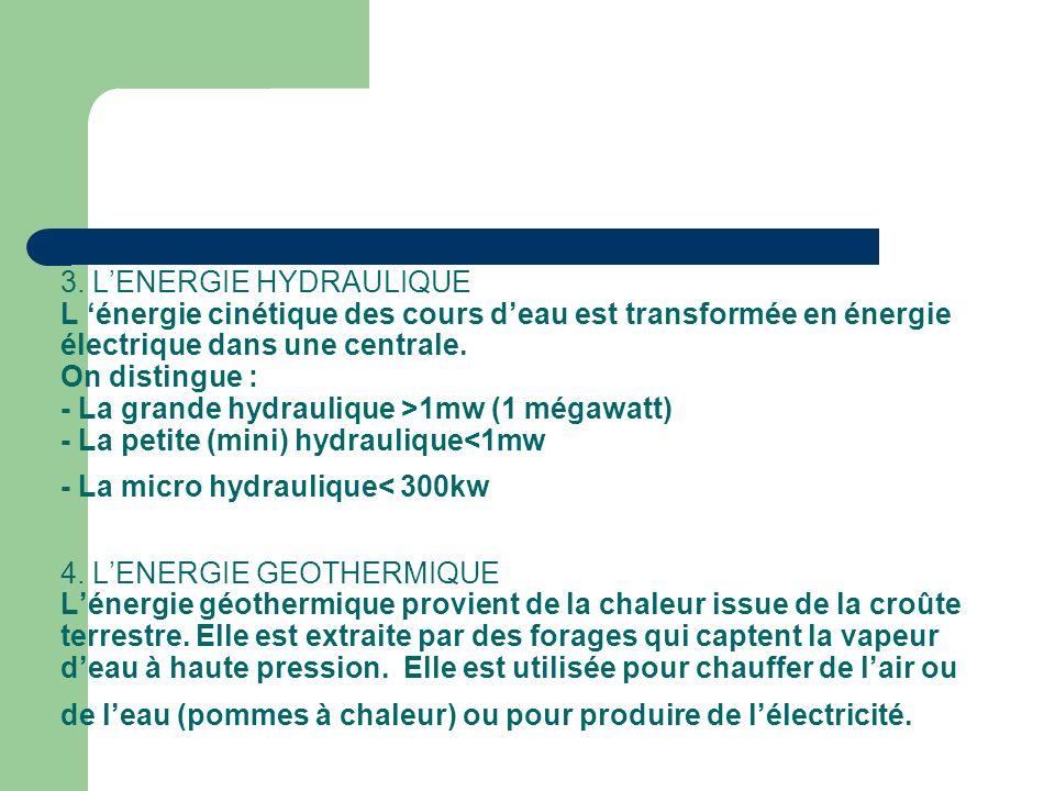 3. LENERGIE HYDRAULIQUE L énergie cinétique des cours deau est transformée en énergie électrique dans une centrale. On distingue : - La grande hydraul