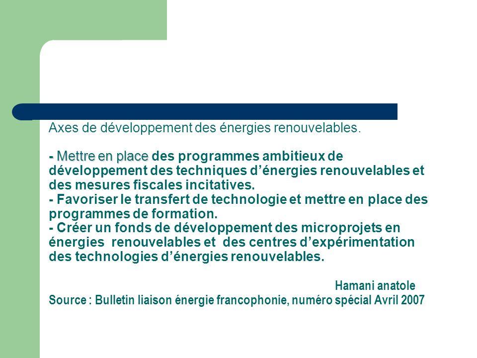 - Mettre en place Axes de développement des énergies renouvelables.