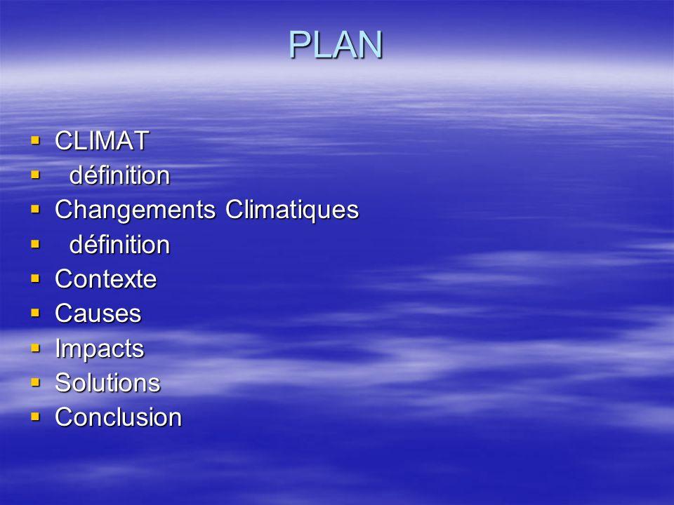 PLAN CLIMAT CLIMAT définition définition Changements Climatiques Changements Climatiques définition définition Contexte Contexte Causes Causes Impacts