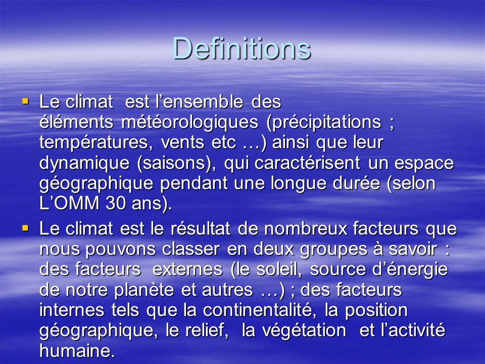 Definitions Le climat est lensemble des éléments météorologiques (précipitations ; températures, vents etc …) ainsi que leur dynamique (saisons), qui