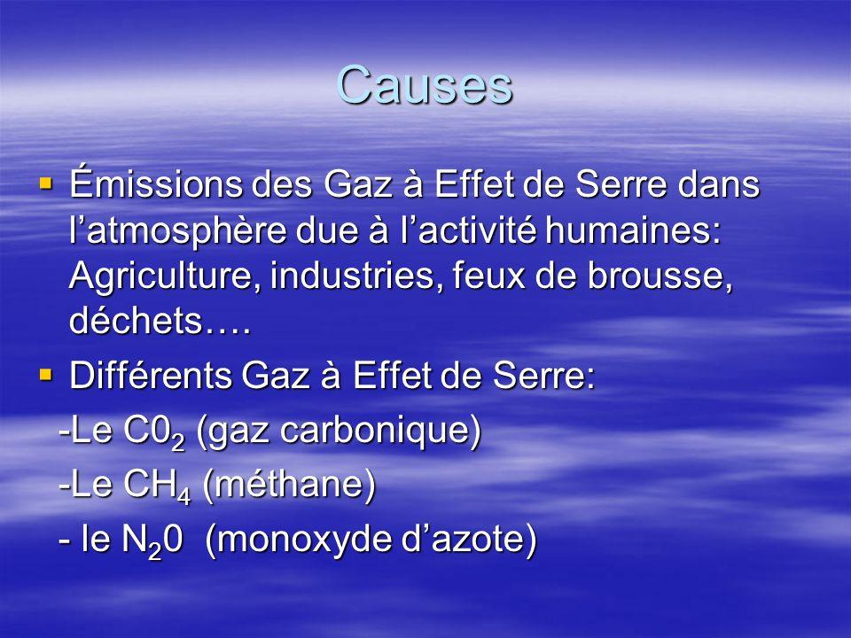 Causes Émissions des Gaz à Effet de Serre dans latmosphère due à lactivité humaines: Agriculture, industries, feux de brousse, déchets…. Émissions des
