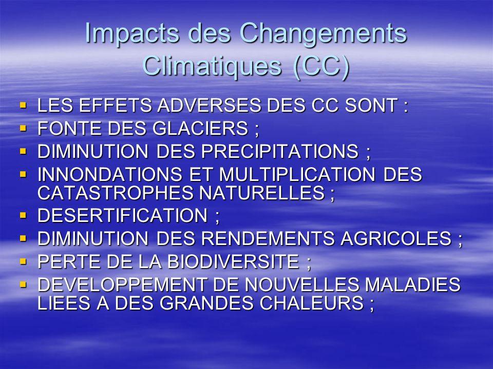 Impacts des Changements Climatiques (CC) LES EFFETS ADVERSES DES CC SONT : LES EFFETS ADVERSES DES CC SONT : FONTE DES GLACIERS ; FONTE DES GLACIERS ;