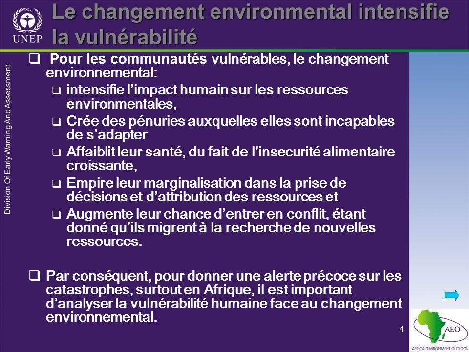 Division Of Early Warning And Assessment 4 Le changement environmental intensifie la vulnérabilité Pour les communautés vulnérables, le changement env