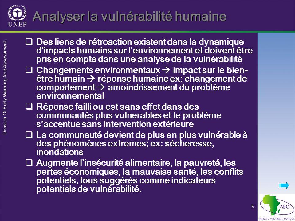 Division Of Early Warning And Assessment 6 Un exemple de cadre analytique de la vulnérabilité humaine Impact humain sur lenvironnement (ex: déforestation, érosion) vulnérabilité humaine au changement environmental (santé, pauvreté) Engagement social envers lenvironnement ex: investissements