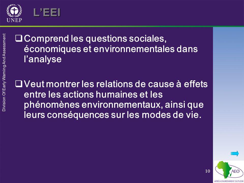 Division Of Early Warning And Assessment 10LEEI Comprend les questions sociales, économiques et environnementales dans lanalyse Veut montrer les relations de cause à effets entre les actions humaines et les phénomènes environnementaux, ainsi que leurs conséquences sur les modes de vie.
