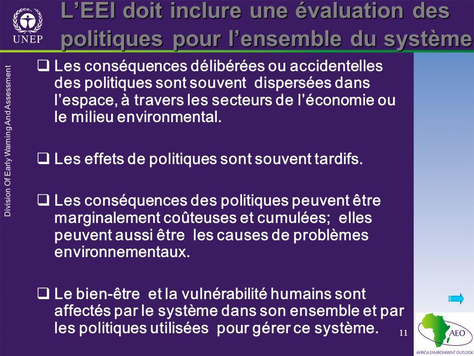 Division Of Early Warning And Assessment 11 LEEI doit inclure une évaluation des politiques pour lensemble du système Les conséquences délibérées ou accidentelles des politiques sont souvent dispersées dans lespace, à travers les secteurs de léconomie ou le milieu environmental.