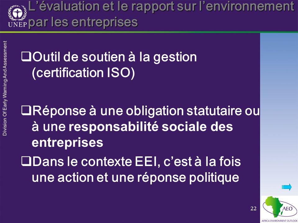 Division Of Early Warning And Assessment 22 Lévaluation et le rapport sur lenvironnement par les entreprises Outil de soutien à la gestion (certification ISO) Réponse à une obligation statutaire ou à une responsabilité sociale des entreprises Dans le contexte EEI, cest à la fois une action et une réponse politique