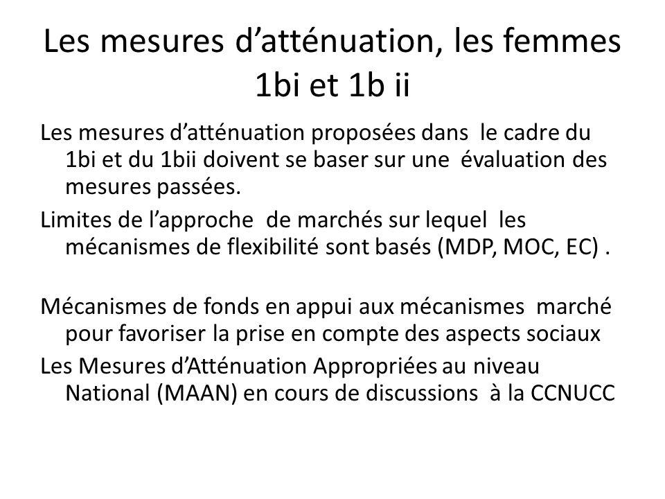 Les mesures datténuation, les femmes 1bi et 1b ii Les mesures datténuation proposées dans le cadre du 1bi et du 1bii doivent se baser sur une évaluation des mesures passées.