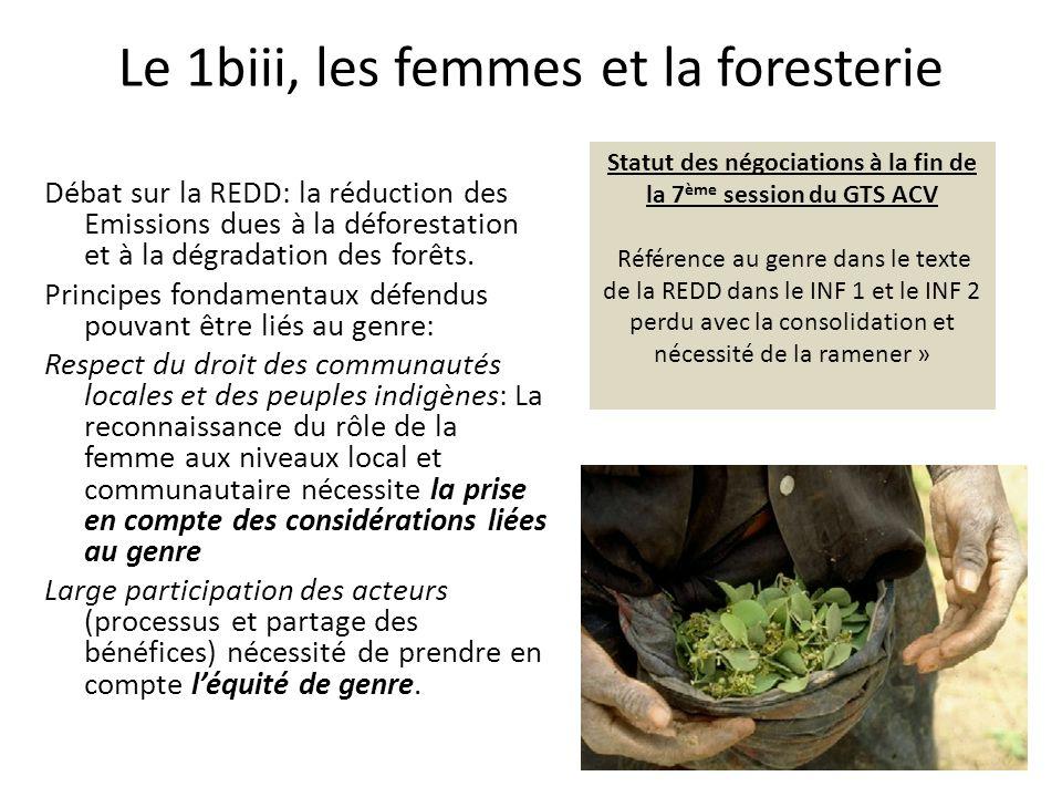 Le 1biii, les femmes et la foresterie Débat sur la REDD: la réduction des Emissions dues à la déforestation et à la dégradation des forêts.