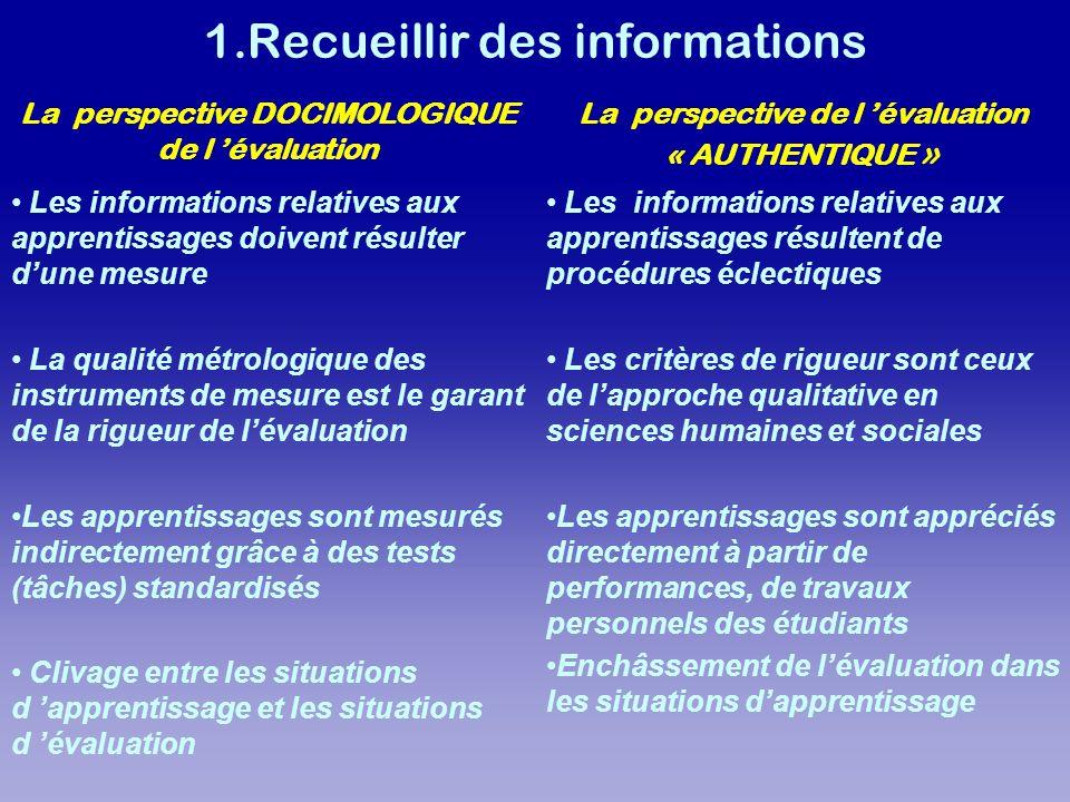 Les informations relatives aux apprentissages doivent résulter dune mesure La qualité métrologique des instruments de mesure est le garant de la rigue