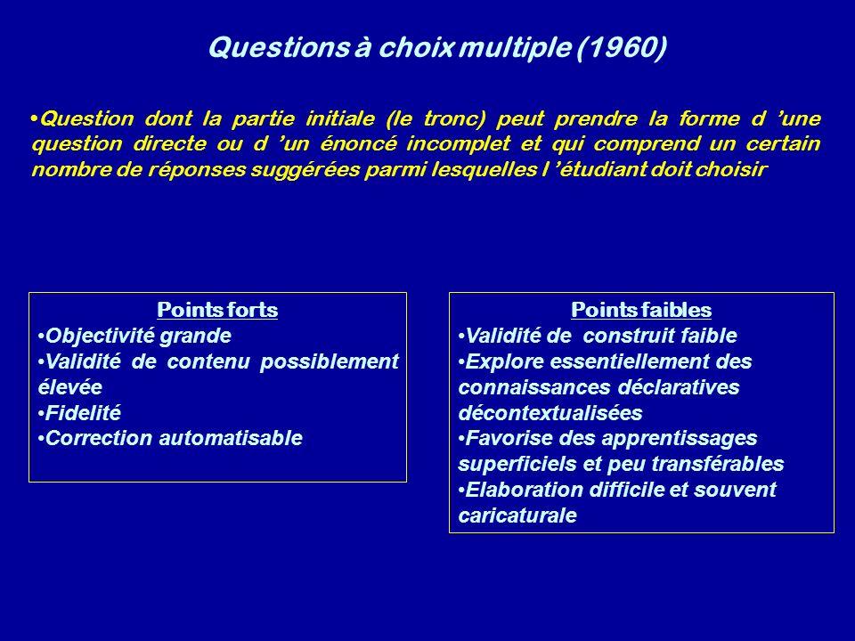 Questions à choix multiple (1960) Question dont la partie initiale (le tronc) peut prendre la forme d une question directe ou d un énoncé incomplet et