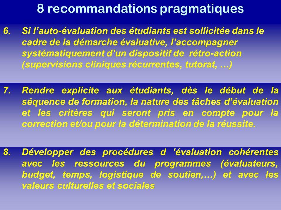 8 recommandations pragmatiques 8.Développer des procédures d évaluation cohérentes avec les ressources du programmes (évaluateurs, budget, temps, logistique de soutien,…) et avec les valeurs culturelles et sociales 6.Si lauto-évaluation des étudiants est sollicitée dans le cadre de la démarche évaluative, laccompagner systématiquement dun dispositif de rétro-action (supervisions cliniques récurrentes, tutorat, …) 7.Rendre explicite aux étudiants, dès le début de la séquence de formation, la nature des tâches dévaluation et les critères qui seront pris en compte pour la correction et/ou pour la détermination de la réussite.