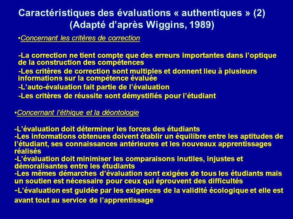 Caractéristiques des évaluations « authentiques » (2) (Adapté daprès Wiggins, 1989) Concernant les critères de correction -La correction ne tient compte que des erreurs importantes dans loptique de la construction des compétences -Les critères de correction sont multiples et donnent lieu à plusieurs informations sur la compétence évaluée -Lauto-évaluation fait partie de lévaluation -Les critères de réussite sont démystifiés pour létudiant Concernant léthique et la déontologie -Lévaluation doit déterminer les forces des étudiants -Les informations obtenues doivent établir un équilibre entre les aptitudes de létudiant, ses connaissances antérieures et les nouveaux apprentissages réalisés -Lévaluation doit minimiser les comparaisons inutiles, injustes et démoralisantes entre les étudiants -Les mêmes démarches dévaluation sont exigées de tous les étudiants mais un soutien est nécessaire pour ceux qui éprouvent des difficultés - Lévaluation est guidée par les exigences de la validité écologique et elle est avant tout au service de lapprentissage