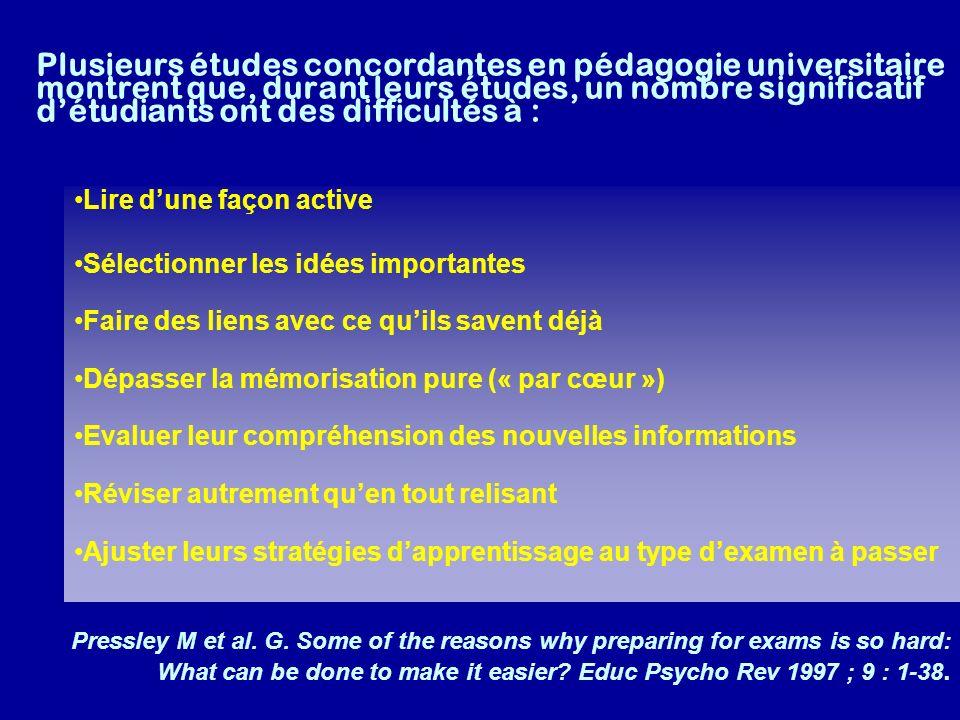 Plusieurs études concordantes en pédagogie universitaire montrent que, durant leurs études, un nombre significatif détudiants ont des difficultés à :