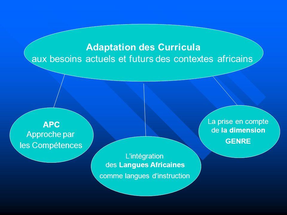 Lintégration des langues africaines comme langues dinstruction dans les curricula (1) Une réforme des curricula : pour quels objectifs .