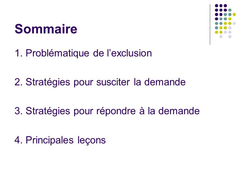 Sommaire 1. Problématique de lexclusion 2. Stratégies pour susciter la demande 3.