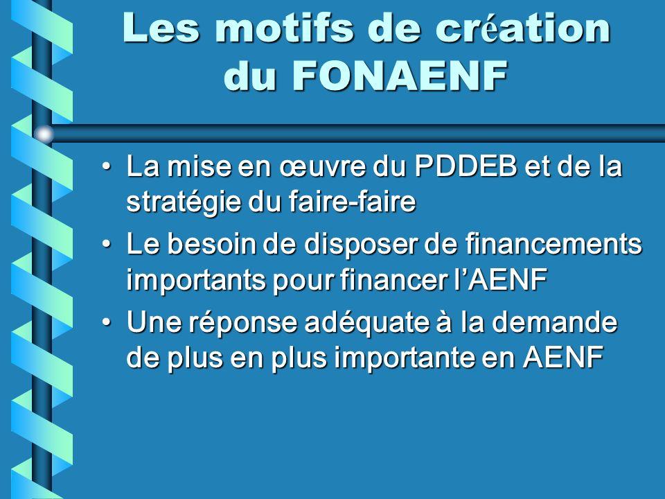 Les motifs de cr é ation du FONAENF La mise en œuvre du PDDEB et de la stratégie du faire-faireLa mise en œuvre du PDDEB et de la stratégie du faire-f