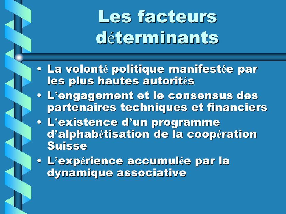 Les facteurs d é terminants La volont é politique manifest é e par les plus hautes autorit é sLa volont é politique manifest é e par les plus hautes a