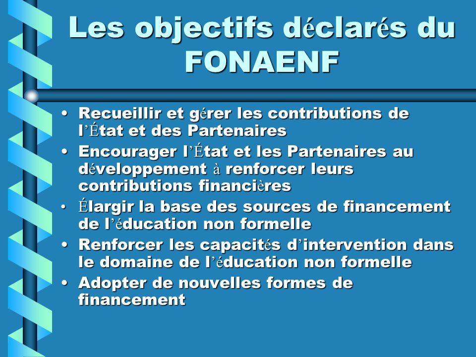 Les objectifs d é clar é s du FONAENF Recueillir et g é rer les contributions de l É tat et des PartenairesRecueillir et g é rer les contributions de
