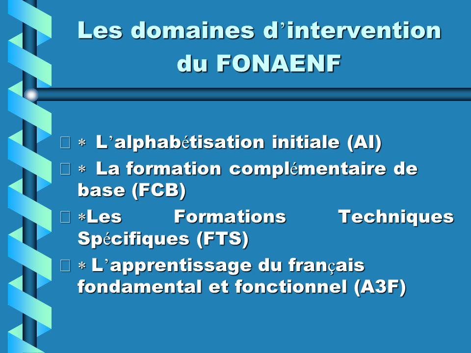 Les domaines d intervention du FONAENF L alphab é tisation initiale (AI) L alphab é tisation initiale (AI) La formation compl é mentaire de base (FCB)