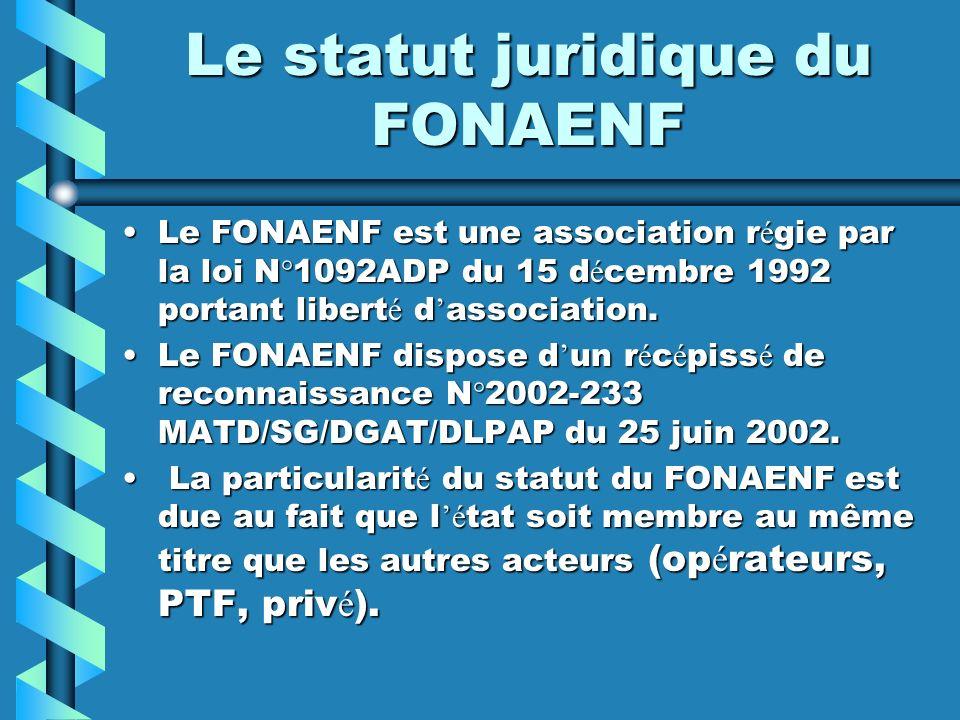 Le statut juridique du FONAENF Le FONAENF est une association r é gie par la loi N°1092ADP du 15 d é cembre 1992 portant libert é d association.Le FON