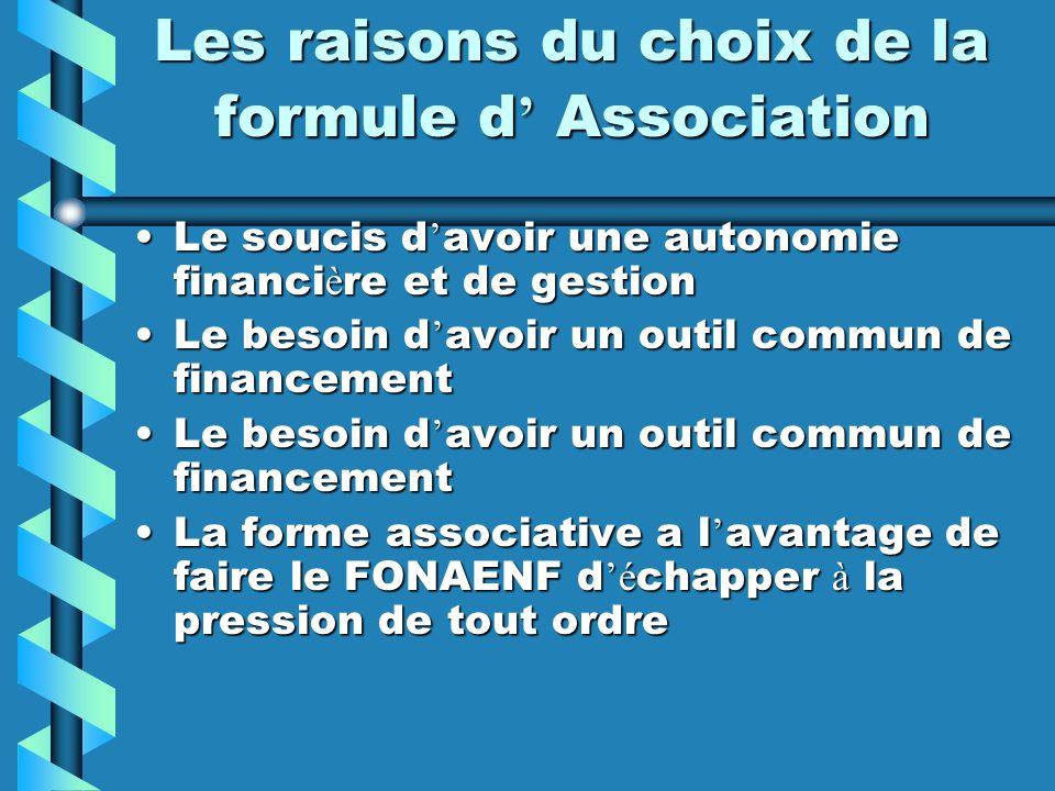 Les raisons du choix de la formule d Association Le soucis d avoir une autonomie financi è re et de gestionLe soucis d avoir une autonomie financi è r